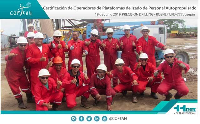 Certificación de Operadores de Plataformas de Izado de Personal Autopropulsados (PRESISION DRILLING – ROSNEFT) Jusepin