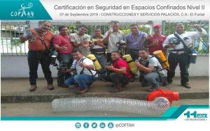 Certificación en Seguridad en Espacios Confinados (COSPACA) El Furrial