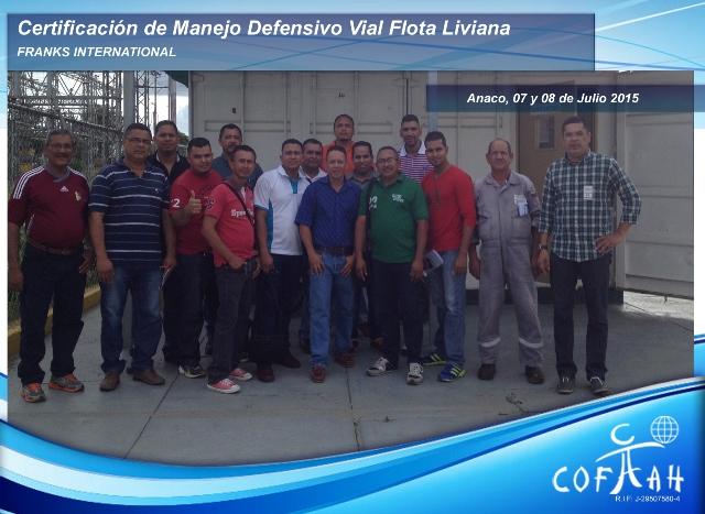 Certificación de Manejo Vial Defensivo Vial - Flota Liviana (FRANKS International) Anaco
