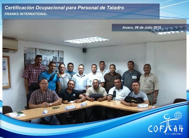 Certificación Ocupacional para Personal de Taladro (FRANKS International) Anaco