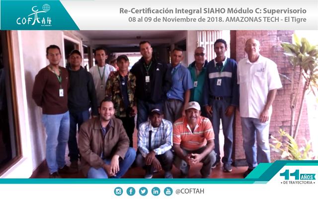 Re-Certificación Integral SIAHO Módulo C – Supervisorio (AMAZONAS TECH) El Tigre