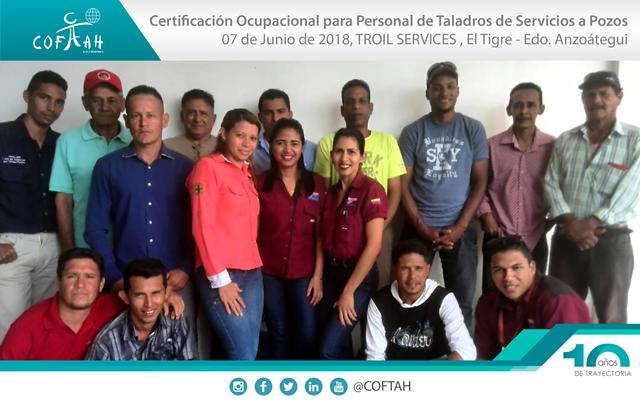 Certificación Ocupacional para Personal de Taladros de Servicios a Pozos (TROIL SERVICES) El Tigre