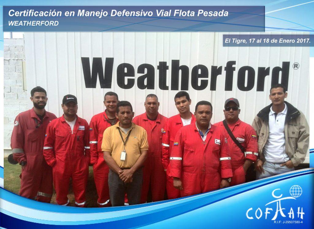 Certificación en Manejo Defensivo Vial Flota Pesada (WEATHERFORD) El Tigre
