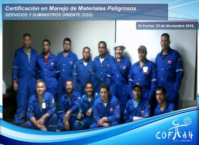 Certificación en Manejo de Materiales Peligrosos (SSO) El Furrial
