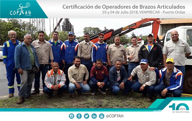 Certificación de Operadores de Brazos Artículados (VENPRECAR) Pto. Ordaz