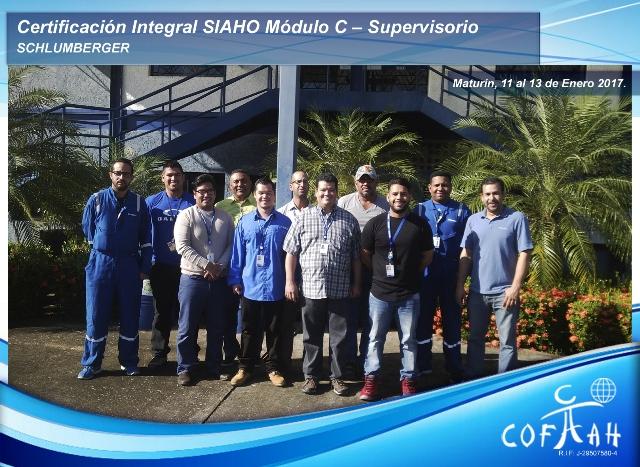 Certificación Integral SIAHO Módulo C – Supervisorio (SCHLUMBERGER) Maturín