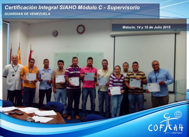Certificación Integral SIAHO Módulo C - Supervisorio (GUARDIAN de Venezuela) Maturín