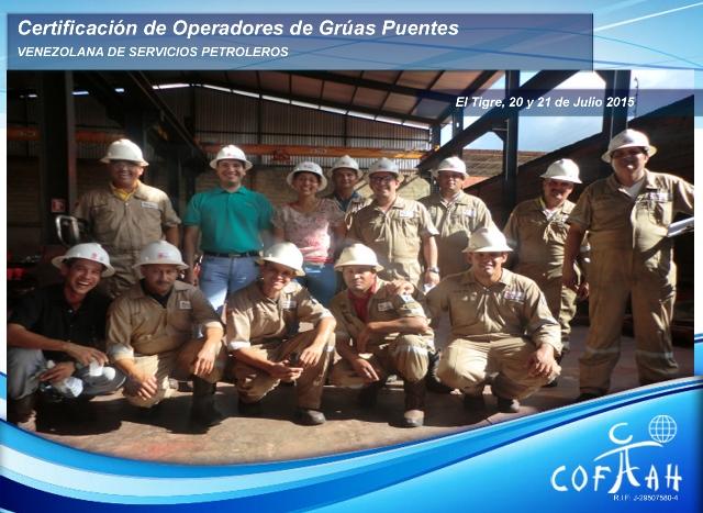 Certificación de Operadores de Grúas Puentes (Venezolana de Servicios Petroleros) El Tigre