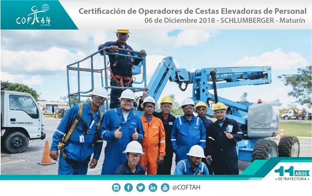 Certificación para Operadores de Cestas Elevadoras de Personas (SCHLUMBERGER) Maturín