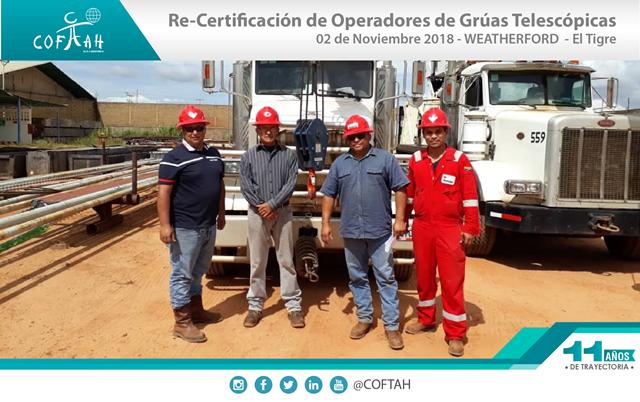 Re-Certificación de Operadores de Grúas Telescópicas (WEATHERFORD) El Tigre