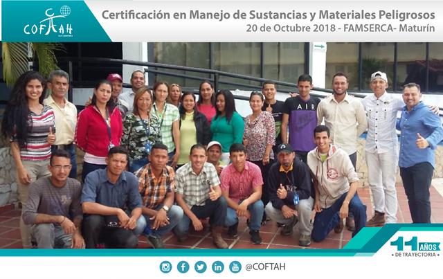 Certificación en Manejo de Sustancias y Materiales Peligrosos (FAMSERCA) Maturín