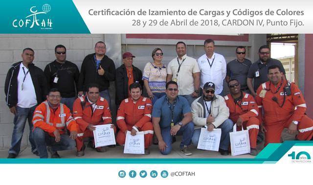 Certificación en Izamiento de Cargas y Códigos de Colores (CARDON IV) Punto Fijo