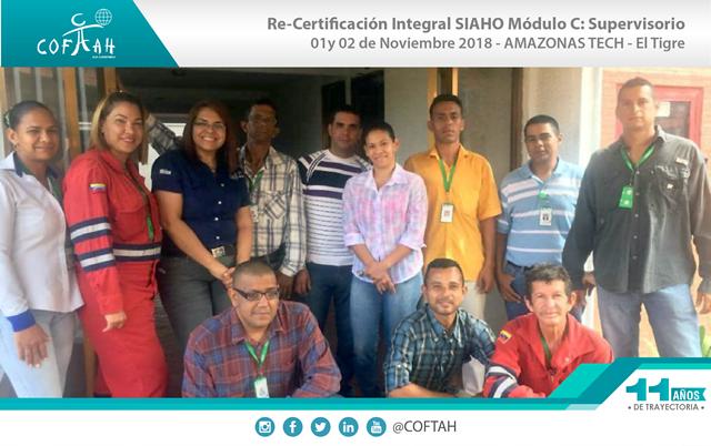 Re-Certificación Integral SIAHO Módulo C - Supervisorio (AMAZONAS TECH) El Tigre