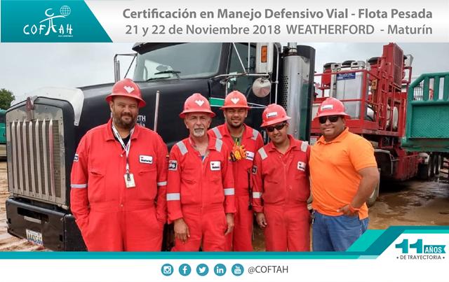 Certificación en Manejo Defensivo Vial - Flota Pesada (WEATHERFORD) Maturín
