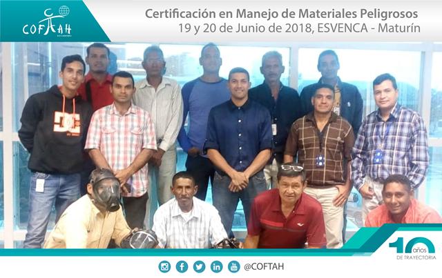 Certificación en Manejo de Materiales Peligrosos (ESVENCA) Maturín