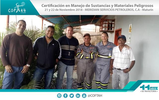 Certificación en Manejo de Sustancias y Materiales Peligrosos (MERIDEAN) Maturín