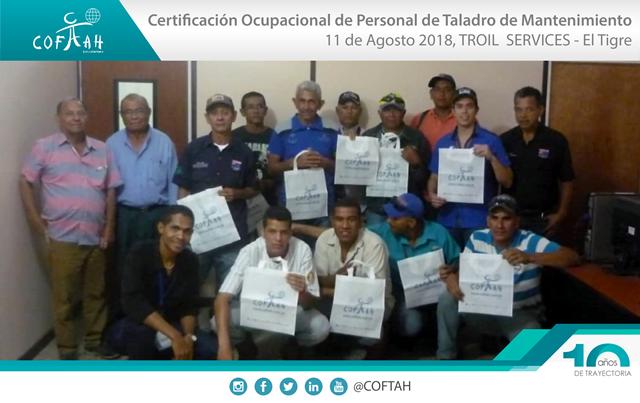 Certificación Ocupacional para Personal de Taladros de Matenimiento (TROIL Services) El Tigre