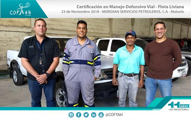 Certificación en Manejo Defensivo Vial - Flota Liviana (MERIDIAN) Maturín