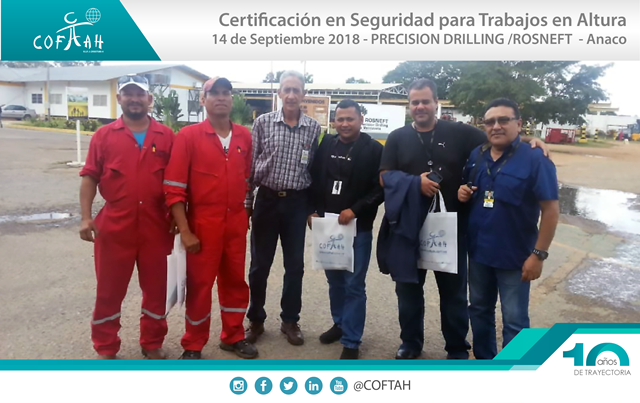 Certificación en Seguridad con Trabajos en Altura (Precision Drilling - ROSNEFT) Anaco