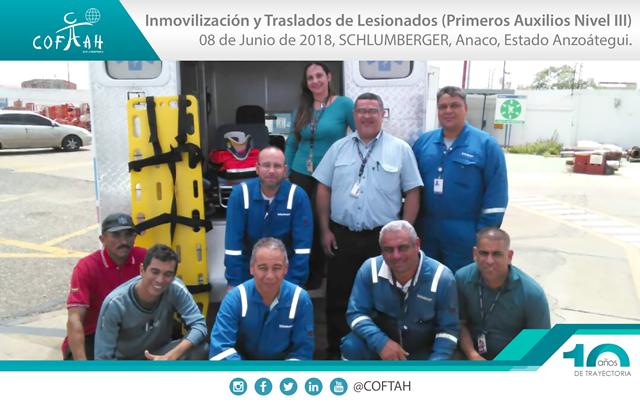 Inmovilización y Traslados de Lesionados – Primeros Auxilios Nivel 3 (SCHLUMBERGER) Anaco