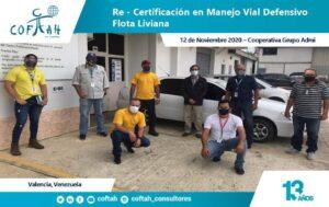 Re-Certificación en Manejo Vial Defensivo Flota Liviana (GRUPO ADMI 12-11-2020)