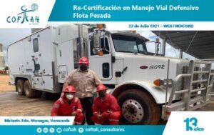 Certificación en Manejo Vial Defensivo Flota Pesada