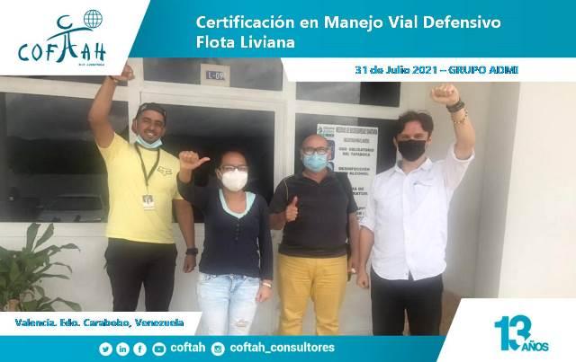 Certificación en Manejo Vial Defensivo Flota Liviana GRUPO ADMI en Valencia