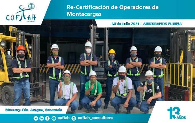 Re-Certificación de Operadores de Montacargas en ABRIGRANDS PURINA DE VENEZUELA